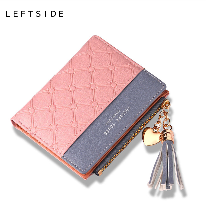 LEFTSIDE Women Fold Zipper Leather Cash Wallet Small Female Tassel Short Wallets Ladies Cute Purse For Lady Coin Credit Cards new 2017 ladies genuine leather brand small wallets for credit cards women short wallet purses zipper roomy coin multi function