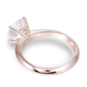 Image 3 - DovEggs Solid 14K 585 Rose Gold 2.5ct carat 8.5mm F Color Lab Created Moissanite Diamond Solitaire Engagement Rings For Women