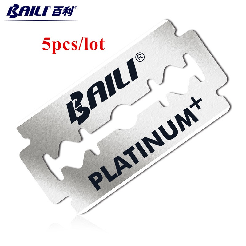 5Pcs BAILI Ultra Thin Safety Razor Blades For Shaving Double Replaceable Stainless Steel Razor Men Shaver Blade DropShipping