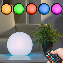 15cm 16 colors RGB Dimmable LED Table Light Rechargeable Battery Waterproof Round Ball Desk Lamp Remote Control LED Night Light remote rgb control waterproof 100% plastic led night light v v a004
