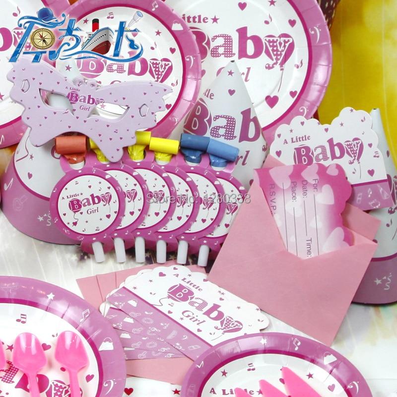 12PC/Lot Envelop Shape Pink Baby Girl Theme Birthday Invitation ...