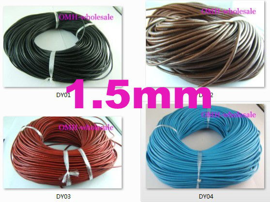 Wholesale 1.5mm 5m Fashion Black Red White Blue Coffee Real Leather Thread Cord For Necklace Bracelet Without Clasps Strands