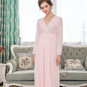 Image 2 - Elegant High Waist Pink Sleepwear Women Nightgowns Long Sleeve V Neck Night Wear Sleep Shirt Vintage Lace Home Dress Ladies T311