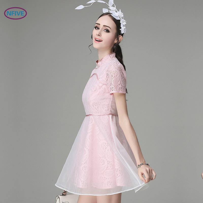 Femmes Slim Livraison Nfive 2017 Robes Dress Marque Soirée Cheongsam Dentelle Nouveau Gratuite Élégant De 1 Été A8nYngU4