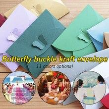 10PCS/LOT Colored Butterfly Buckle Kraft Paper Envelopes Simple Love Retro Buckle Decorative Envelope Small Paper Envelope