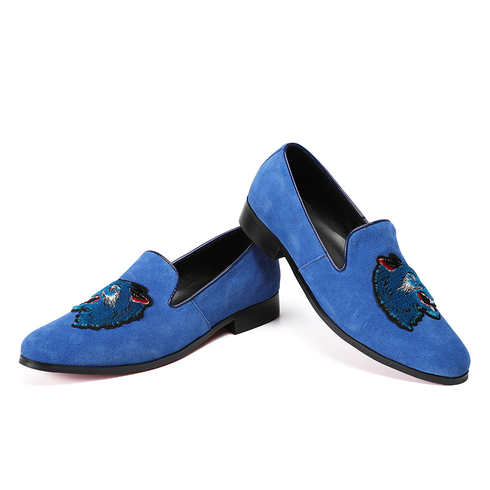 Deification Luxury Blue Wolf Embroidery Casual Loafers Pig Suede Casual Men Flats Formal Slip On Man Party Shoes Plus Size 38 46 in Men 39 s Casual Shoes from Shoes