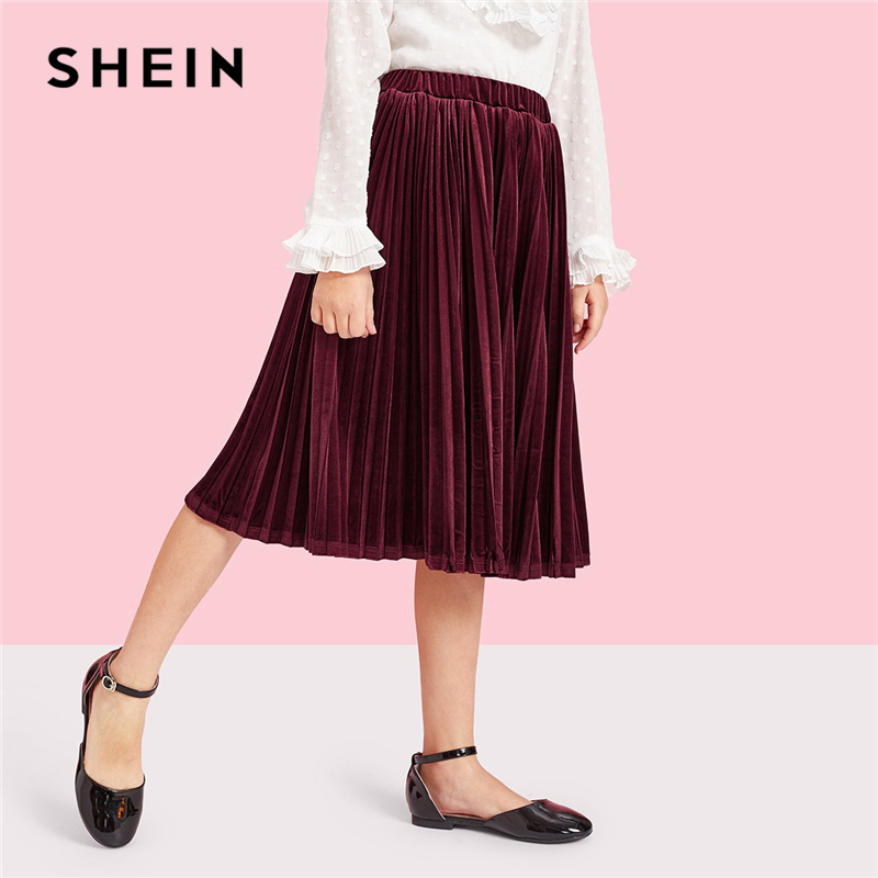 SHEIN Kiddie Burgundy Girls Elastic Waist Pleated Velvet Skirt Kids 2019 Spring Korean Knee Length Skirt Preppy A Line Skirts