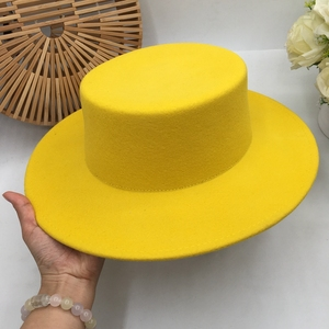 Image 2 - About flat  eaves wool hat light show white female homburg contracted joker hat lemon elegant hat Fedoras Panama