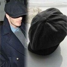 Горячая черная шерстяная шляпа мужская кепка газетчика сплошной цвет модные теплые зимние Восьмиугольные шляпы мужские женские Gatsby винтажные плоские шапки