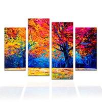 4 개 추상 캔버스 미술 재생 숲 풍경 다채로운 큰 나무 벽 사진 홈 장식/SJMT1965