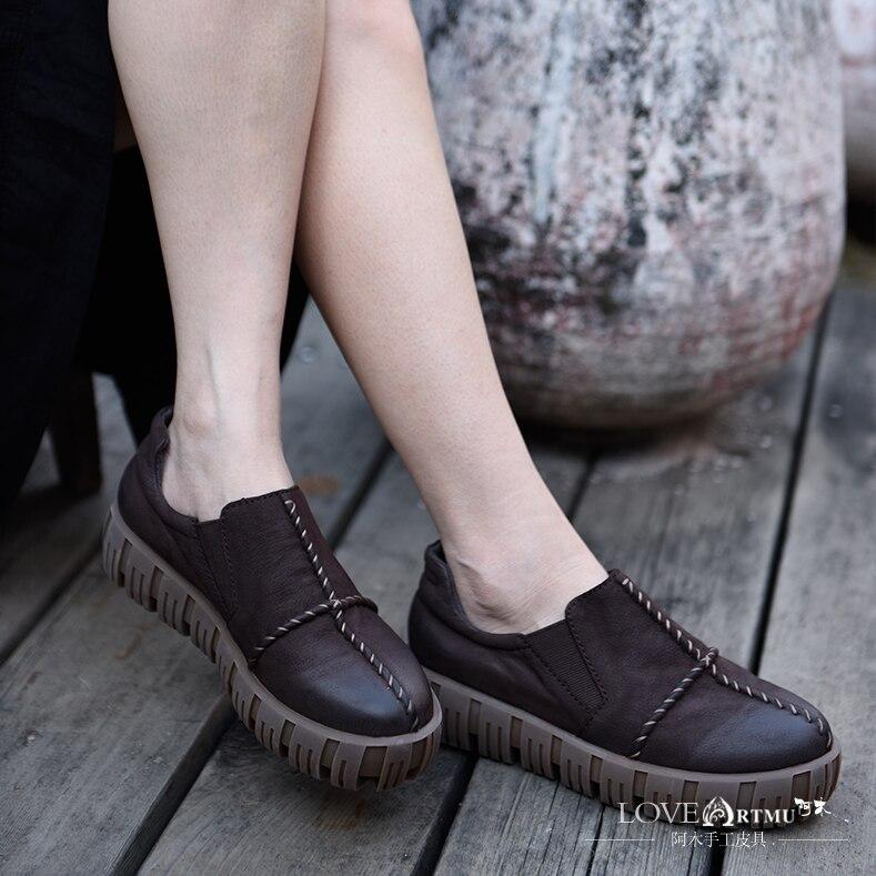 Semelles Confort Chaussures Femme À Cuir forme Feminino Doux En Plate Mocassins La Femmes Artmu Sapato Main Plates Appartements 7tw6q