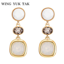 wing yuk tak Classic Earrings For Women Career Geometric Crystal Zinc Alloy Charming Statement Earrings Vintage Fashion Jewelry