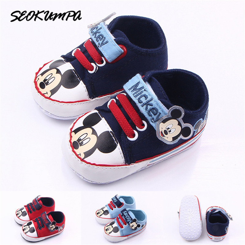 2019 New 0-18M Brand Baby Autumn Sneakers Toddler Boy First Walkers Bebe Girl Newborn Baby Shoes Boy Fashion Mickey Shoes
