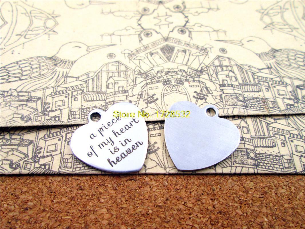 Подвески из нержавеющей стали, цельные Подвески «сердце мое, небесный» в форме сердца, 20-20 мм, «сделай сам»