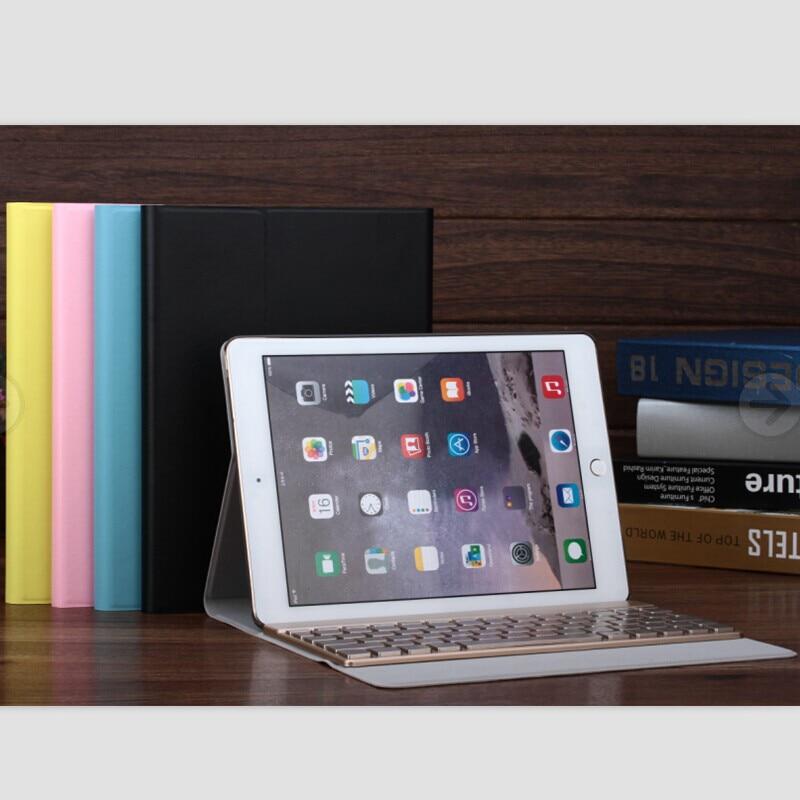 все цены на F16S/For iPad Pro 9.7 inch iPad 6 Air2 LED Backlit Metal Wireless Bluetooth Keyboard Leather Protective Case Cover Folding Stand онлайн