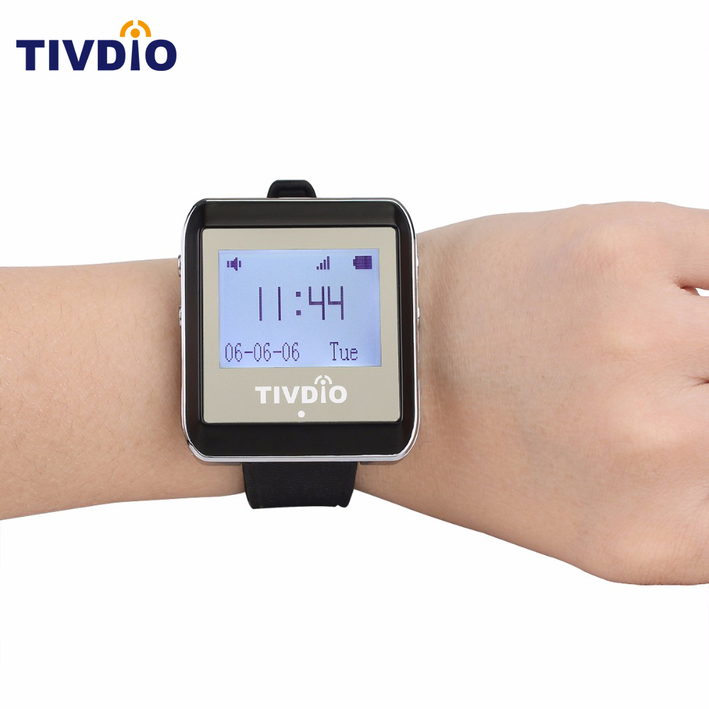 TIVDIO 433MHz Watch Pager Calling Receiver Wireless Pager Calling System Waiter Call Pager Restaurant Equipments Catering F9404A