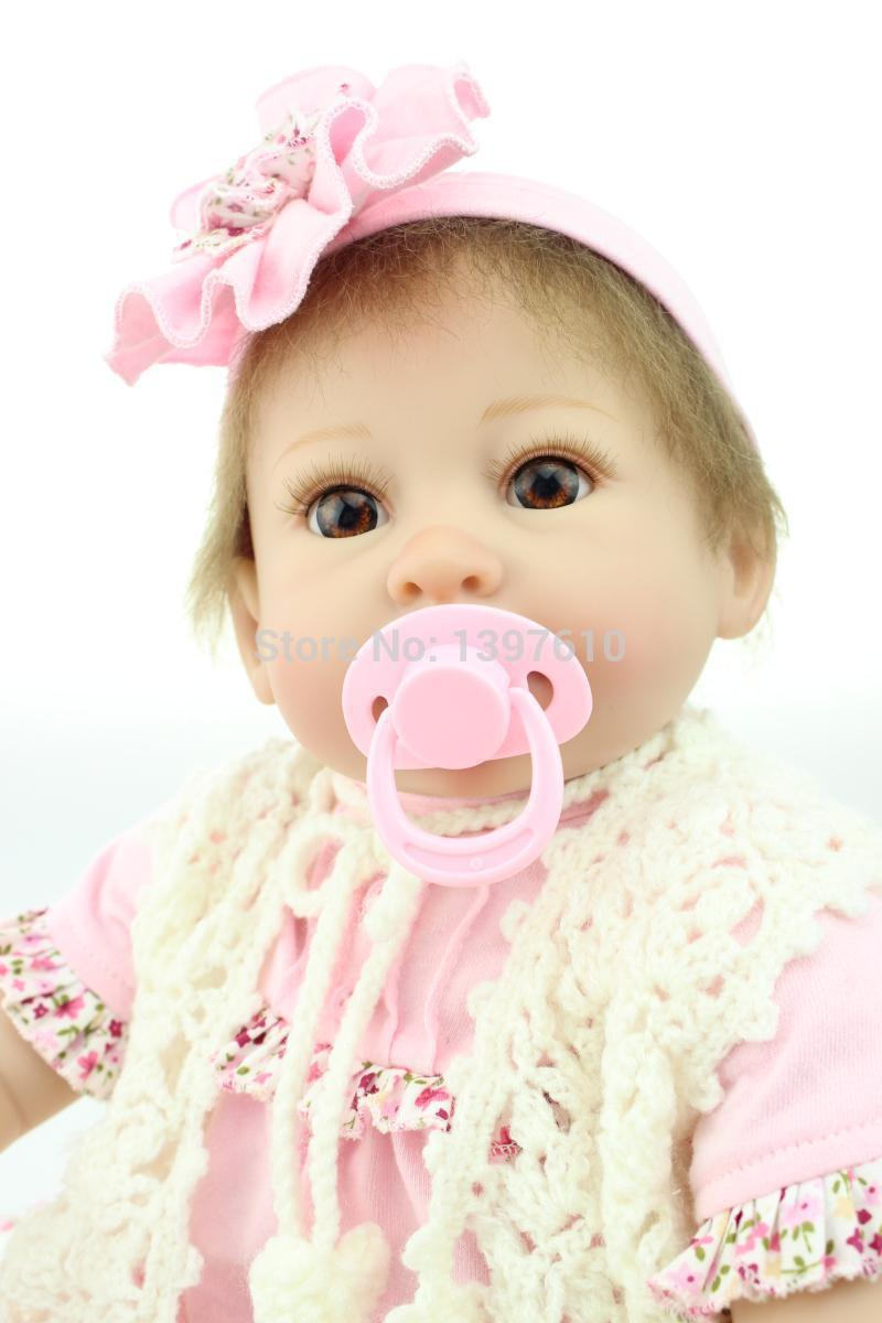 High Quality 2017 Lovely Newborn Baby Dolls 22inch Lifelike Silicone Reborn Babies Soft Real Looking Toys free shipping hot sale real silicon baby dolls 55cm 22inch npk brand lifelike lovely reborn dolls babies toys for children gift