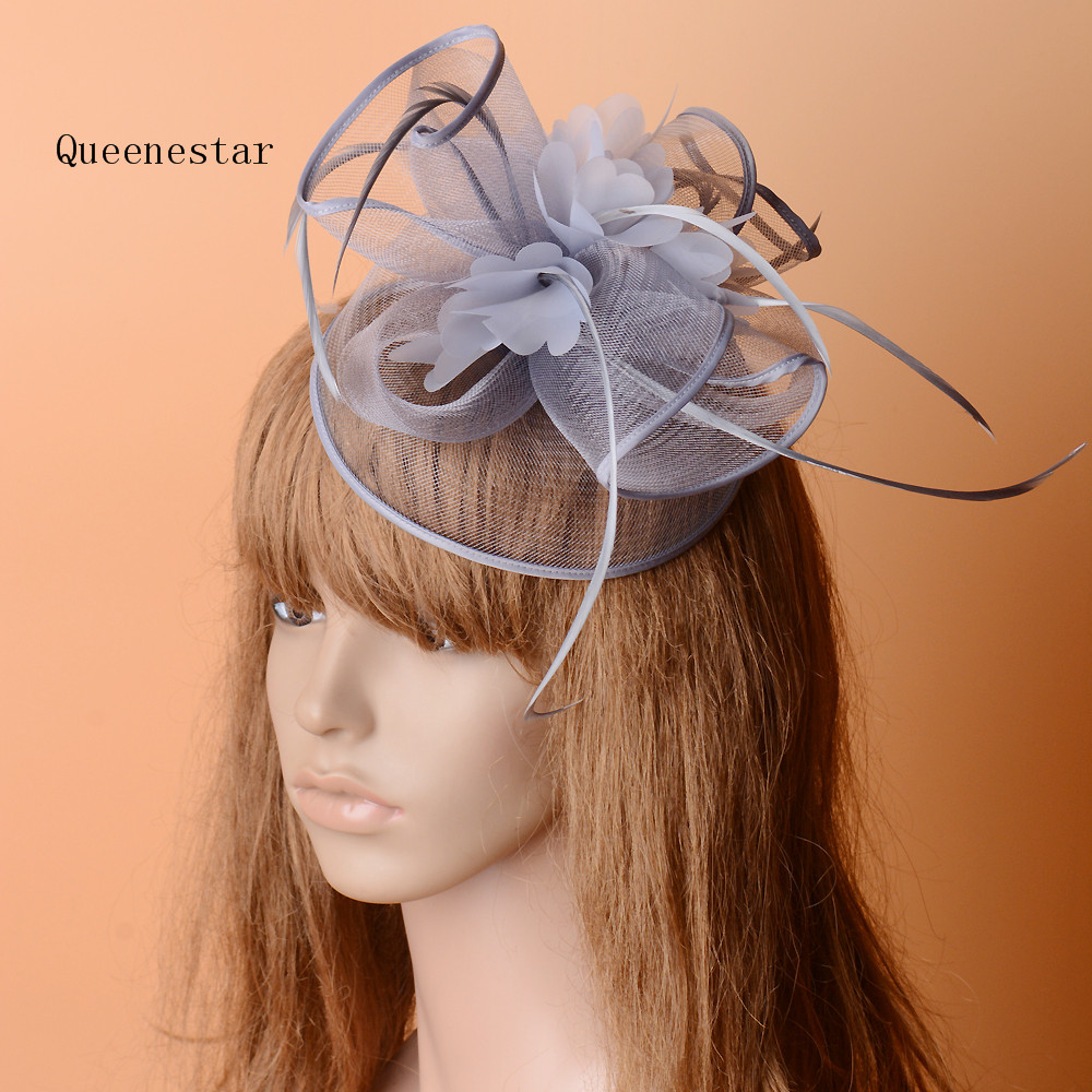 Grey Mesh Feather Hair Accessories Wedding Bride Fascinator Hats Hair Clip Holiday Race Horse Party Derby Ladies Floral Headwear shanfu women zebra stripe sinamay fascinator feather headband fashion lady hair accessories blue sfc12441