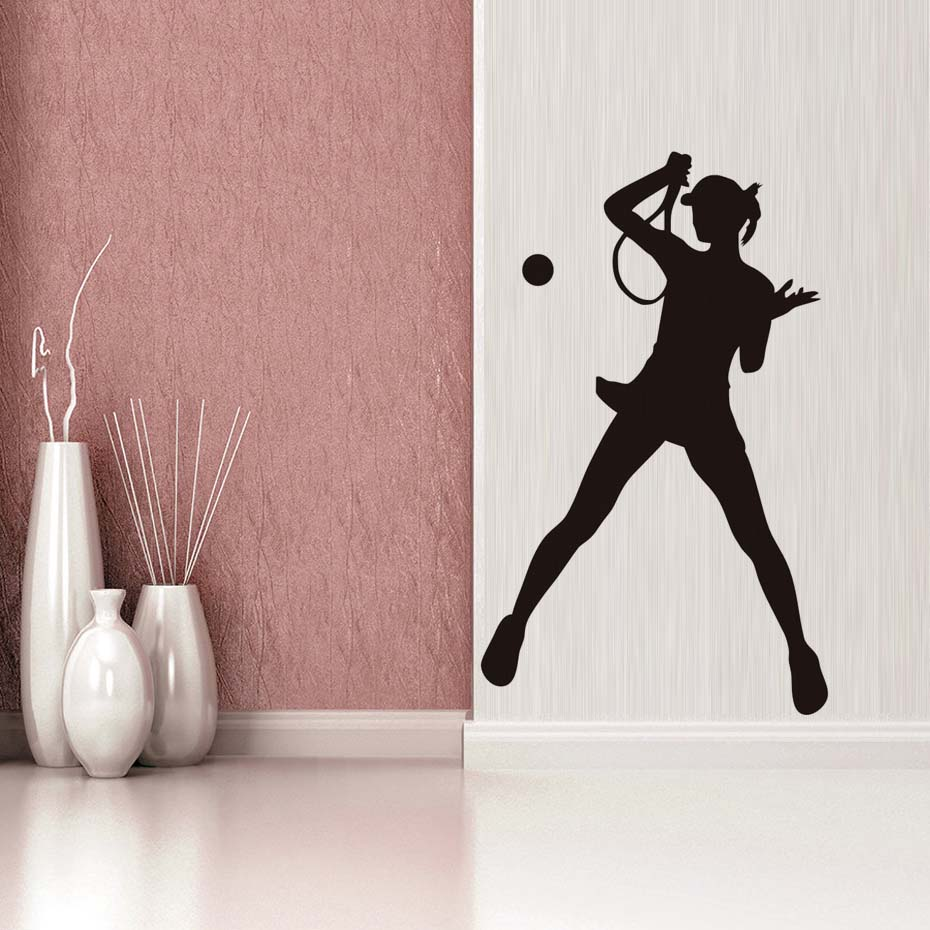 High Quality Vinyl Self Adhesive Female Tennis Player Wall Sticker Waterproof Art Vinyl Decal Living Room Home Decor