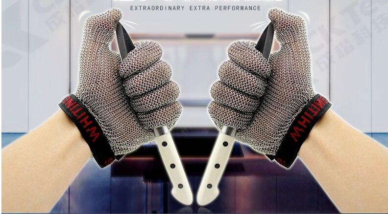 Безопасные устойчивые к порезам защитные рабочие перчатки 100% из нержавеющей стали ANSI анти Резные Металлические Сетки Мясник Перчатки - 4