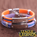 Fashion Charms Silicone LOL Game Wristband, Silicon Bracelet League of Legends Bracelet 2 Color Orange Purple YM01002