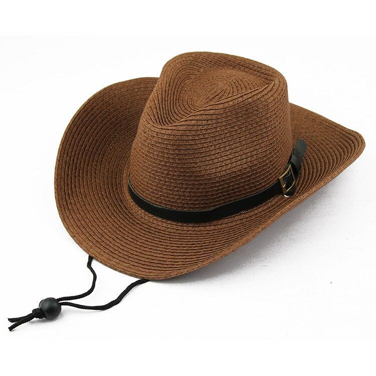 Nuevo 2015 vaquero sombreros de paja sombreros para hombres mujeres sol de  verano playa sombrero Chapeu 5 estilo elija envío gratis f5 en Disfraces  juegos ... 298693f3a52
