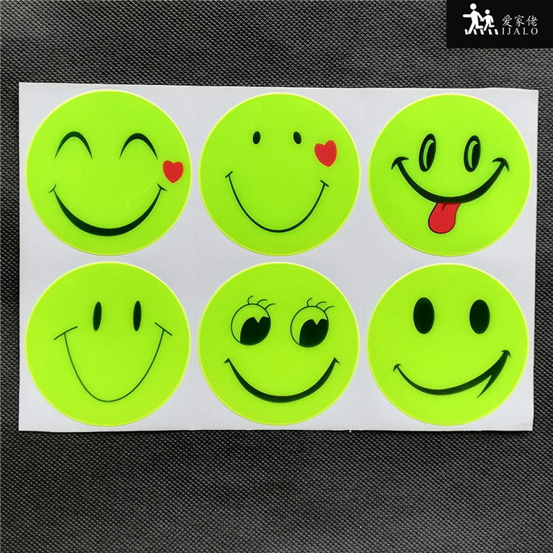 1 Sheets 6pk big smile face Outdoor safety Reflective sticker for school bag helmet bicycle scooter motorcycle decal sticker