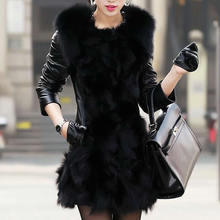 Faux Fur Women Overcoat Gothic patchwork black PU 2016 Winter New Coat Solid Colete Mink Faux Fur Coats Chalecos Mujer Overcoats