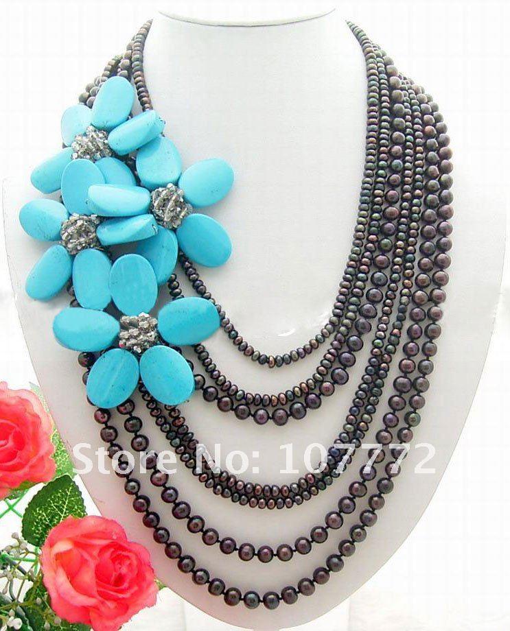 Здесь продается   7 strands Black Pearl Blue Semi-precious Stone Flower Necklace  Ювелирные изделия и часы