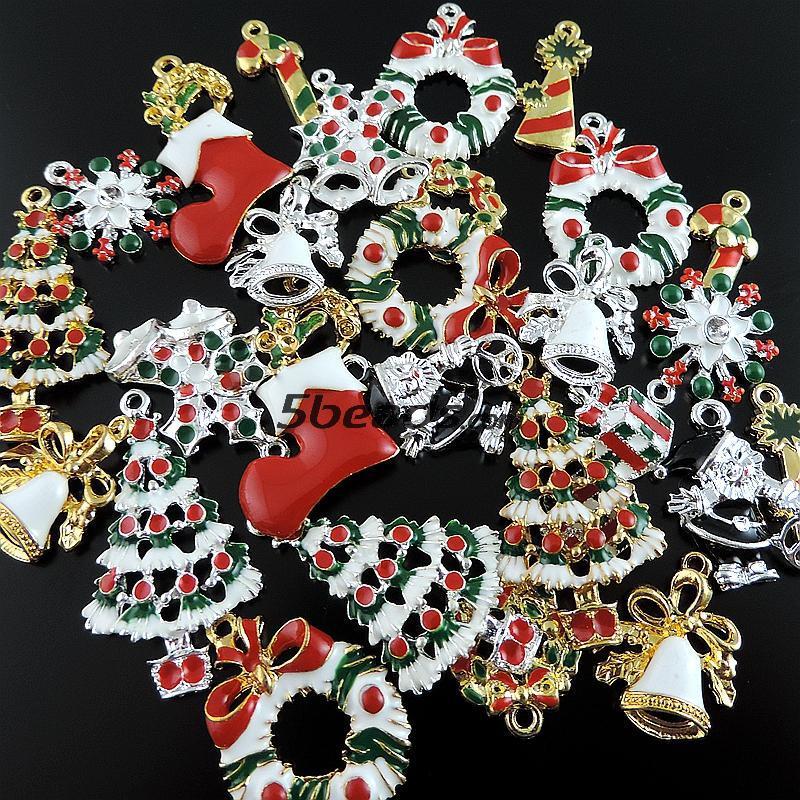 ⃝15 unids estilo retro mixta Navidad serie esmalte árbol calcetín ...