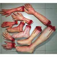 Accesorios sangrientos del Horror de Halloween decoración de la fiesta de la casa embrujada de la mano falsa dedo pierna pie cerebro Corazón de Halloween suministros