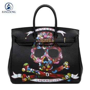 2018High Quality Famous Brands Women Bag PU Leather Handbags Tote Bags Golden Lock Big handwriting cartoon Skull Package 35 CM