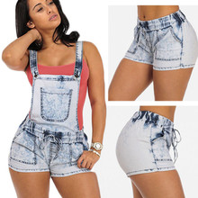 Demountable Jeans Shorts overalls suspenders jeans women hemming summer casual denim shorts