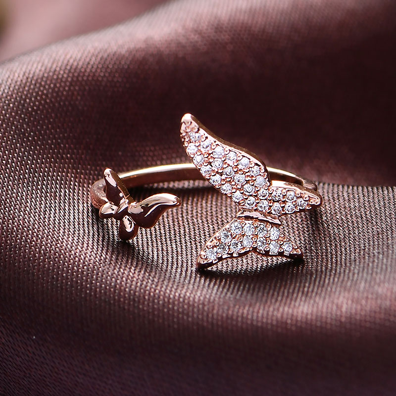 Butterfly Engagement Ring Rose Gold