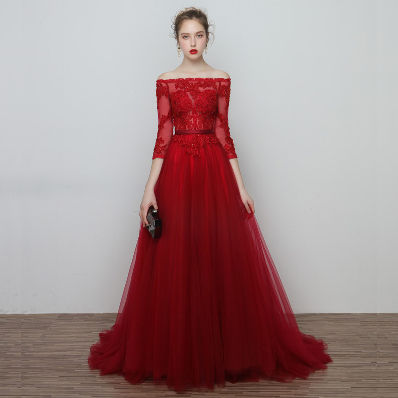 Evening     Dresses   2018 Plus Size Tulle Illusion Long Formal   Dresses   Boat Neck Lace Up Half Sleeves Beads Zipper Robe De Soiree
