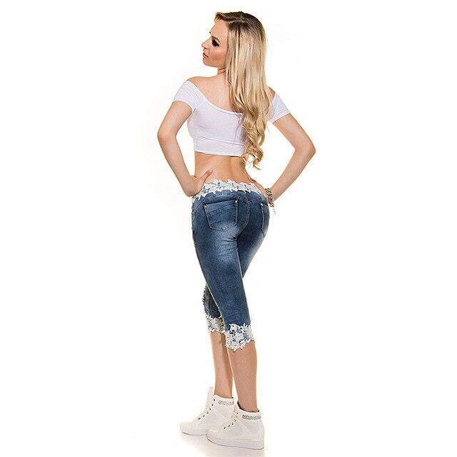 Low Waist Lace Knee-length Denim Jeans
