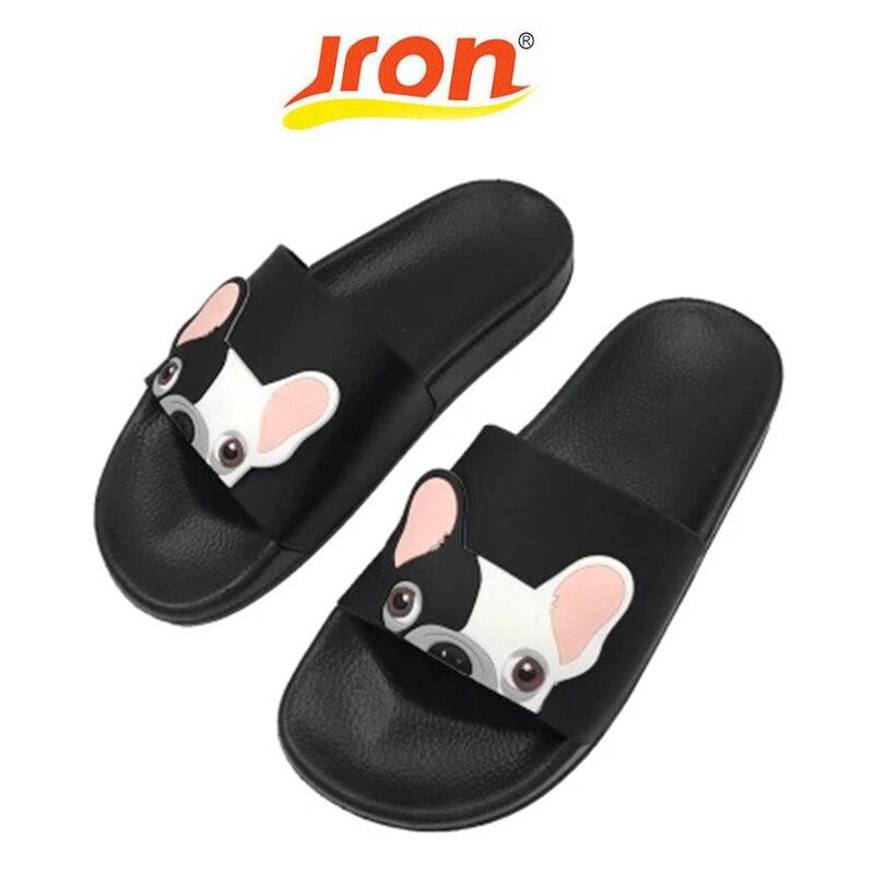 Jron perro patrón de dibujos animados mujeres Slides Pu playa zapatos Mujer tacones planos Flip Flops descalzo Zapatillas Mujer