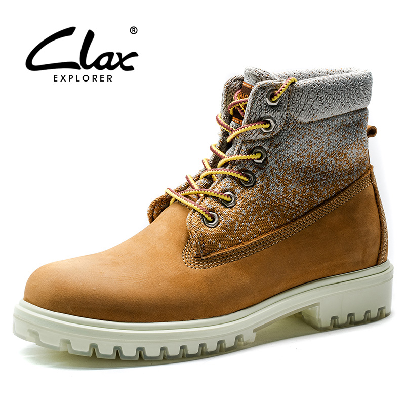 CLAX Men s Boots Fashion Work Boot Male Autumn Leahter Footwear High Top Genuine Leather Casual