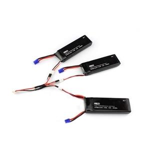 3 Unids 7.4 V 2700 mAh 10C de La Batería y 1 A 3 Cable de Carga para H501S Hubsan RC Quadcopter