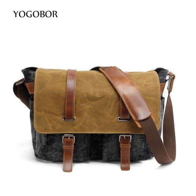f19034e532 YOGOBOR Men Vintage Canvas leather messenger bag soft man travel bags retro  school satchel bag hasp military style handbag