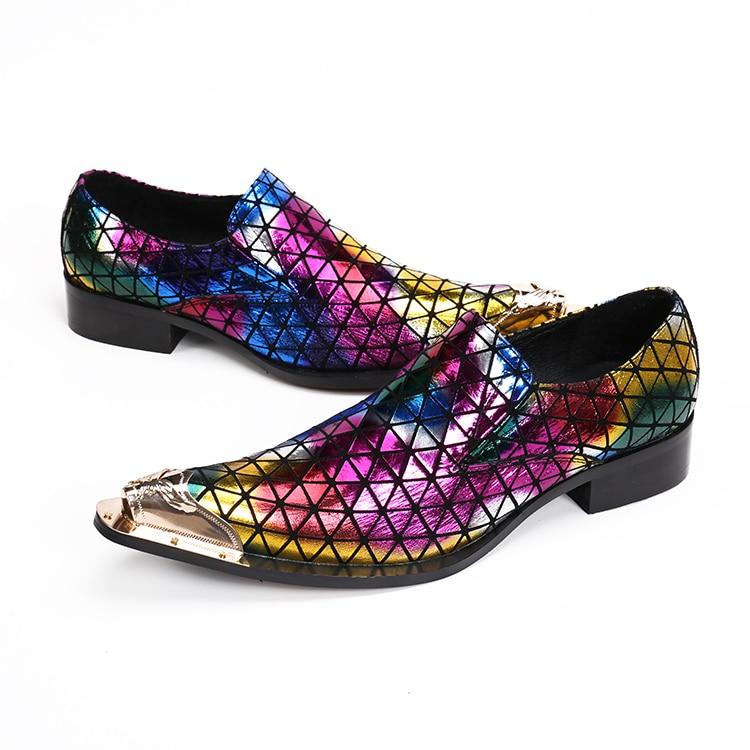 2019 Haopuvsen brand Nieuwe kleurrijke handgemaakte mannen loafers mannen mode lederen mannen trouwjurk schoenen mannen flats maat US11-in Formele Schoenen van Schoenen op  Groep 2