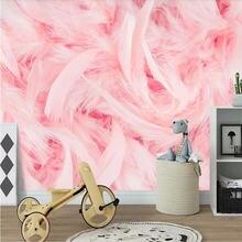 Красивый розовый Фламинго перо ТВ диван стены на заказ обои