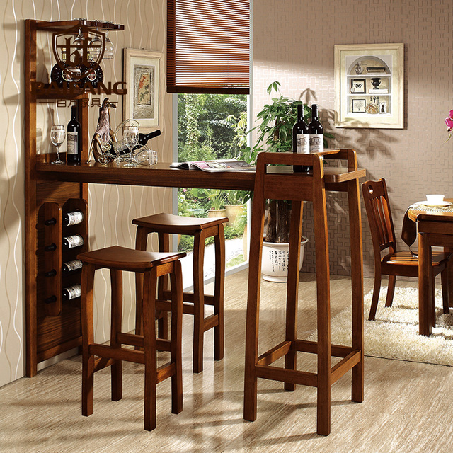 Home Solid Wooden Bar Furniture Set Bar Table And Chair Z3036 In Bar