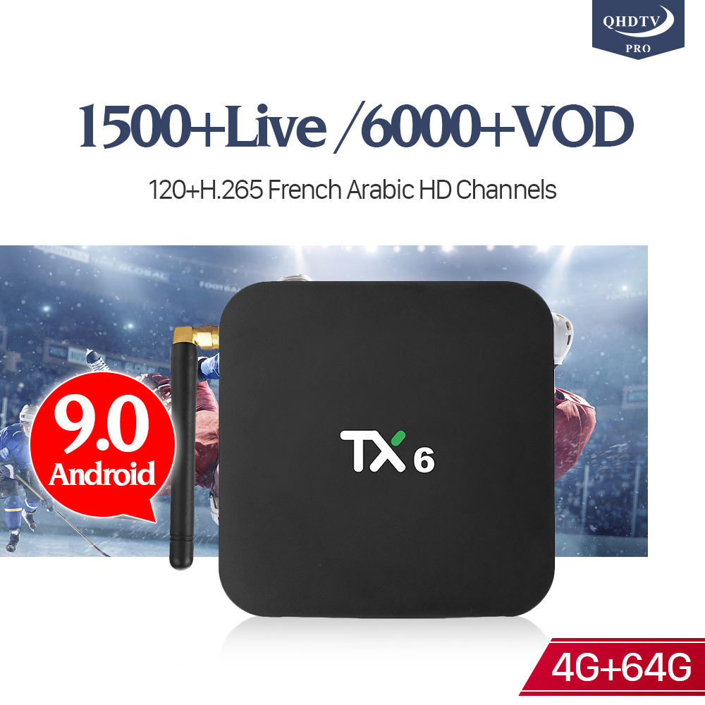IPTV France Subscription Android 9.0 TX6 4+64G BT5.0 USB3.0 Dual-Band WIFI H.265 Decoder IP TV France Morocco Android QHDTV Pro