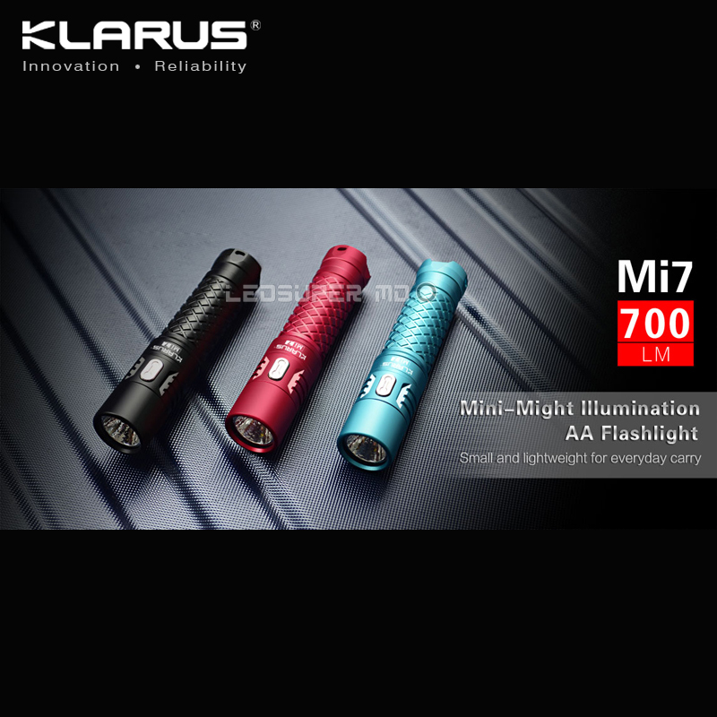 New Arrival KLARUS Mi7 CREE XP-L HI V3 LED 700 Lumens Mini-might illumination AA Flashlight with Free Battery klarus mi7 ipx8 mini led flashlight torch power by aa or 14500 battery cree xp l hi v3 lamp 700 lumens lantern smart indicator