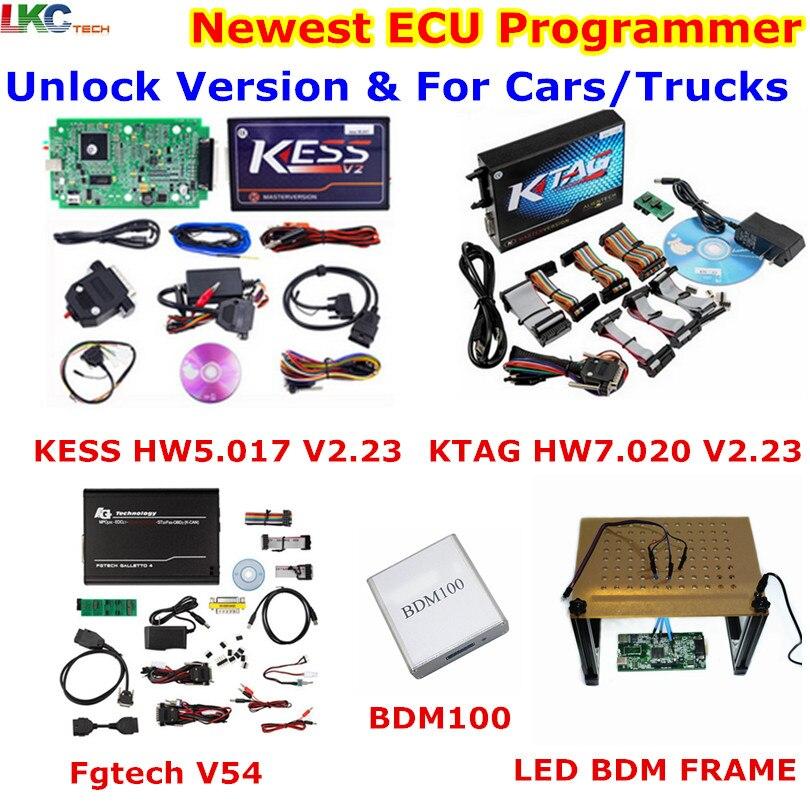 Распродажа! Интернет версия KESS V5.017 V2.23 + KTAG V7.020 V2.23 + FGTECH V54 + BDM100 + светодиодный BDM кадр OBD2 менеджер чип ECU Инструмент настройки