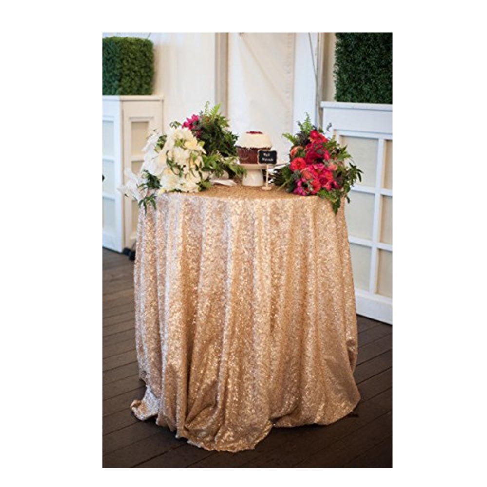 96 inch round tablecloth - 48inch Round Champagne Sequin Overlays Cover Tablecloth For Wedding Party Decoration China Mainland