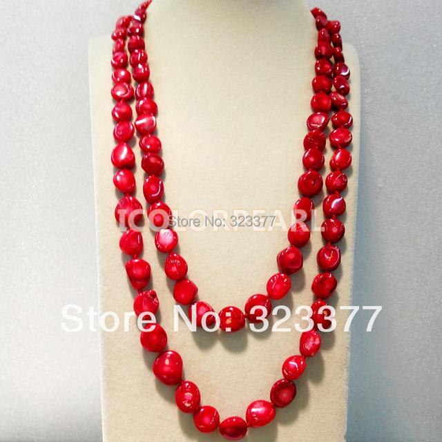 Romantic120-130CM Long Red Coral Sweater Necklace . Size:10x15mm . Different Wearing Styles. Bigger Than Before!