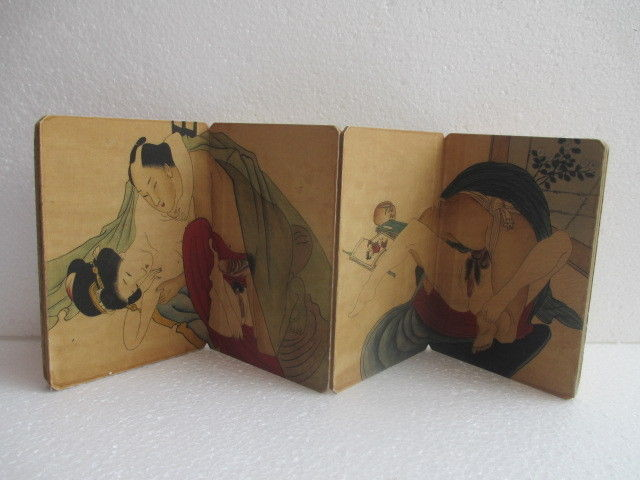 Exquisite Interesting Ancient China Old Folding Antique Painting Album Folk Tradtional Couples Book No 2 in Painting Calligraphy from Home Garden