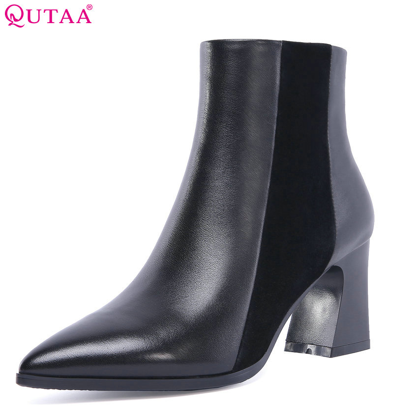 QUTAA 2019 Cow Leather +pu Fashion Women Shoes Women Ankle Boots Square High Heel Winter Shoes Ladies Boots Big Size 34-42 qutaa 2019 woman ankle boots fashion cow leather pu square high heel women shoes winter shoes ladies motorcycle boots size 34 42